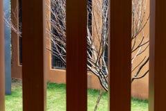 Wood staket för Anticorrosive Arkivfoto