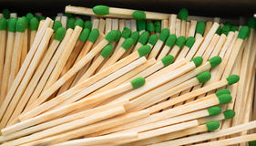 Wood Stalk Green Tip Matches In Box Matchsticks Stock Photo