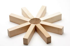 Wood star. A star made from wood bricks isolated on white Stock Images
