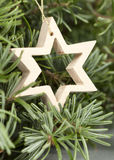 Wood star Christmas decoration Royalty Free Stock Image