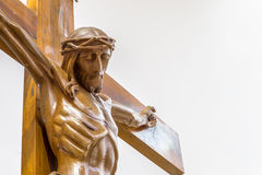 Wood statue  of the Crucifixion of Jesus Christ Stock Photos