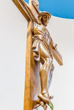 Wood statue  of the Crucifixion of Jesus Christ Royalty Free Stock Photo
