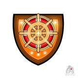 Wood steering wheel in center lifebuoy on shield. Sport logo for any yachting or sailing team or championship isolated on white. Wood steering wheel in center stock illustration