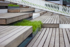 Wood step with grass,stair. Outside stair with grass decoration stock image