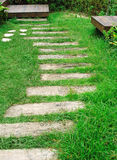 Wood step on green grass Royalty Free Stock Photo