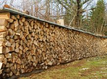 Wood stock. Heap of wood on countryside in chartreuse in french alps Royalty Free Stock Images