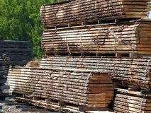 Wood stockpile. A stockpile of wooden planks drying in the lumber yard Stock Photography