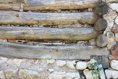 Wood stone construction detail Royalty Free Stock Images