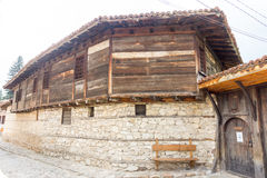 Wood and stone in the national architecture of Koprivshtitsa, Bulgaria stock photo