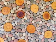 Wood and stones background Royalty Free Stock Images