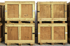 Wood storage boxes Stock Image