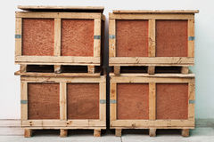 Wood storage boxes Stock Images