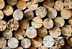 Wood storage with chunks of logs for fireplace. Photo of wood storage with chunks of logs for fireplace stock photography