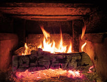 Wood stove fire background stock photo