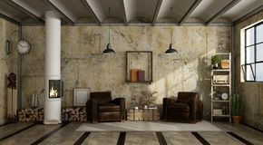 Wood stove in grunge a living room. With two leather armchair - 3d rendering Stock Image