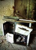 Wood stove of old kitchen in an abandoned house Royalty Free Stock Photo