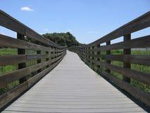 Wood strandpromenad i delstatspark arkivfoto