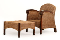 A wood and straw chair and desk Royalty Free Stock Photo