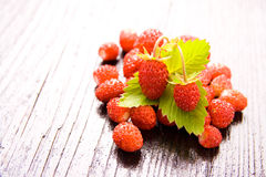 Wood strawberries Stock Photos