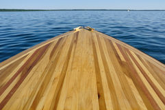 Wood Strip Bow Deck of Wooden Boat Stock Photos