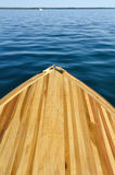 Wood Strip Bow Deck of Wooden Boat. Using Poplar and Mahogany stock photo