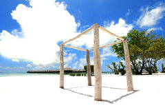 Wood structre with overwater villas Stock Photo