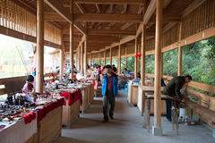Wood structure of tourism products of small market Stock Photo