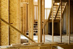 Wood Stud Framing in Home Construction Stock Images