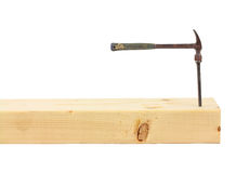 Wood stud with small hammer Stock Photo