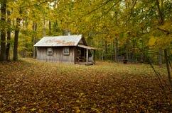 Wood stuga som omges av nedgångfärgträd Arkivbilder