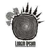 Wood stump emblem, tree trunk vector. Wood stump emblem, Saw cut of tree trunk with forest trees. vector Royalty Free Stock Photos
