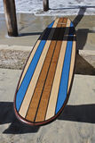 Wood surfboard against California beach pier. Wall Art wood surfboard against pier. Made by local artist Royalty Free Stock Photos