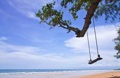 Wood swing on beach, east of Thailand Royalty Free Stock Photography
