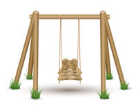 Wood Swing. On white Royalty Free Stock Images