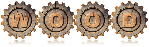 Wood Symbol with Four Wooden Gears Stock Image
