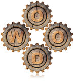 Wood Symbol with Four Wooden Gears Royalty Free Stock Photography