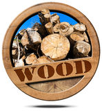 Wood - Symbol with Trunks of Trees Stock Images