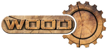 Wood Symbol with Wooden Gear Royalty Free Stock Photography