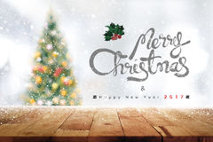 Wood tabellöverkant för bakgrund, jul och temat 2017 för nytt år royaltyfri fotografi