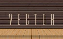 Wood tabellöverkant för vektor på ebenholtssvart bakgrund Royaltyfri Foto