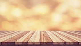 Wood tabellöverkant på suddighetsbokehbakgrund Royaltyfri Foto
