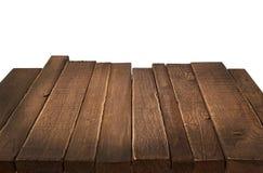 Wood tabell i perspektiv på vit bakgrund Fotografering för Bildbyråer