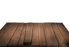 Wood tabell i perspektiv på vit bakgrund Arkivbilder