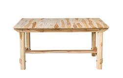 Wood tabell på vit bakgrund arkivfoto