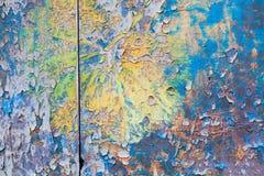 Wood tabelltextur för färgrik tappning violeten guling, gräsplan, blått färgar Royaltyfri Bild