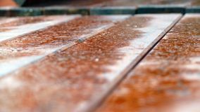 Wood table. Details of the wood table with rain droops royalty free stock photography