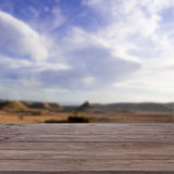 Wood table. On sky background Royalty Free Stock Photos