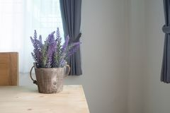 Wood table with artificial purple lavender flower on pot at living room. View from front table royalty free stock images