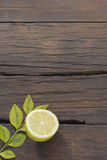 Wood table background with food ingredients Royalty Free Stock Photography
