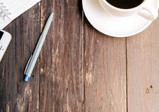 Wood Table background with Hot coffee Stock Photo